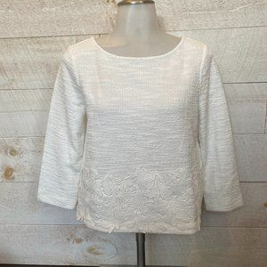 NEW ANN TAYLOR 3/4 Sleeve White Embrodered Top